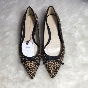 Zara Leather Flats Shoes Size 8